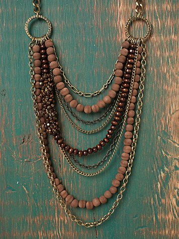 Natural Wood Bib Necklace