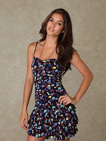 Floral Knit Ruffle Hem Dress