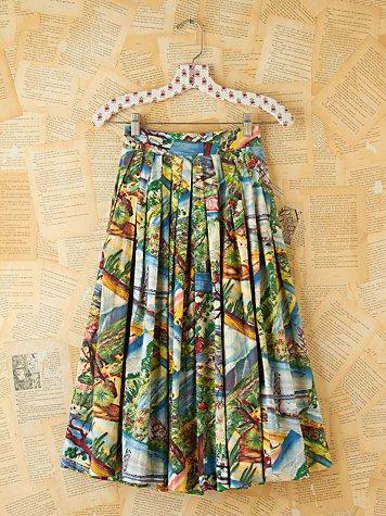 Vintage Printed Souvenir High-Waisted Skirt