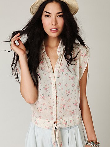 Short Sleeve Printed Tie Buttonup