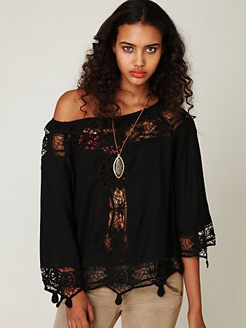 Long Sleeve Crochet Inset Top