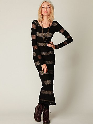 Pieced Lace Long Sleeve Maxi