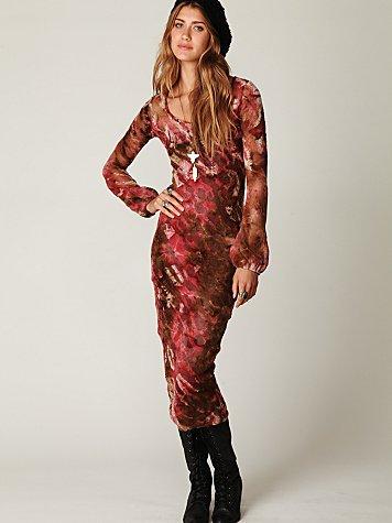 Claudia Long Sleeve Burnout Velvet Maxi Dress