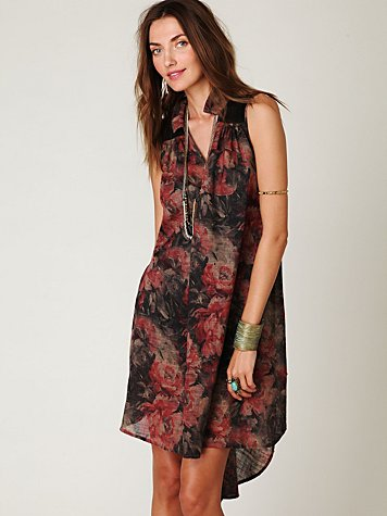 Sheer Printed Collar Buttondown Day Dress