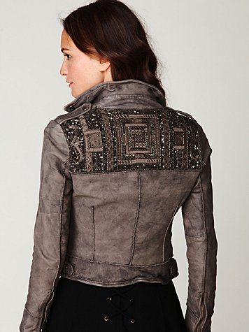 Embellished Leather Jacket