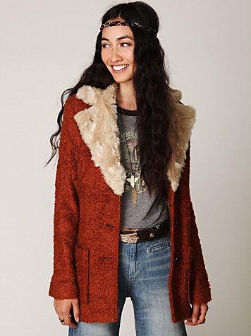 Fur Collar Belted Coat