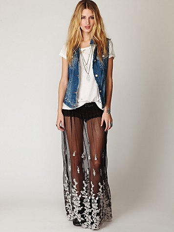Provincial Embroidered Maxi Skirt
