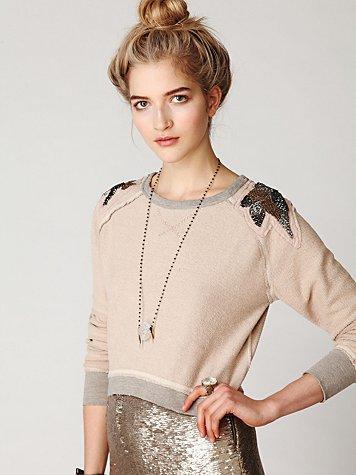 Beaded Shoulder Shrunken Pullover