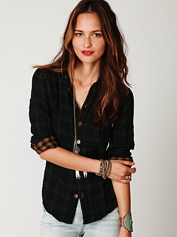 Plaid Button Down with Gingham Top