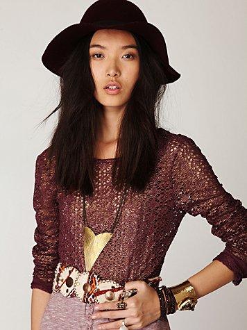 Lurex Crochet Long Sleeve Top