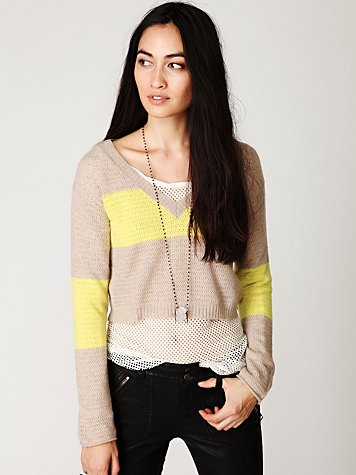 Colorblock Crop Cashmere Pullover