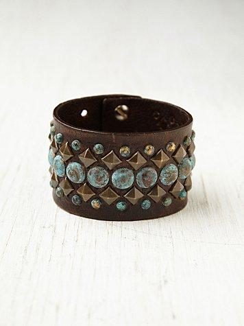 Turquoise Studded Belt Bracelet