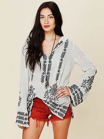 Stripe Hooded Embroidered Tunic