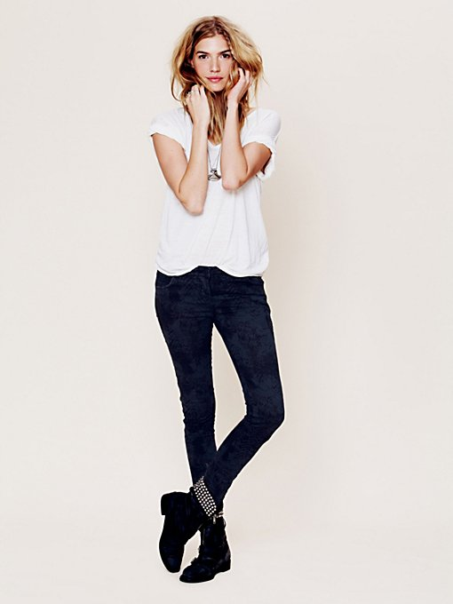 Feather Camo Skinny Jeans with Side Stripe