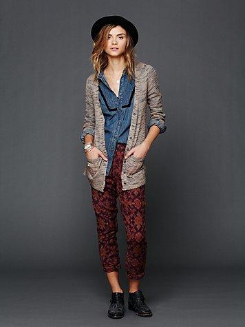 Textured Print Harem Pants