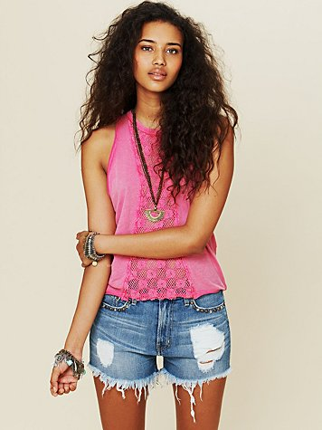 Stud Patch Pocket Embroidered Cutoff