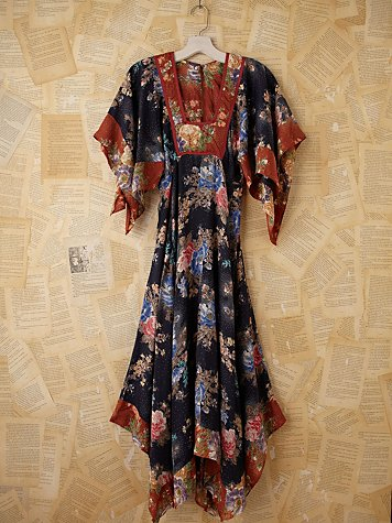 Vintage Floral Printed Empire Waist Maxi Dress
