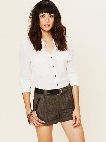 Menswear Belted Tweed Shorts