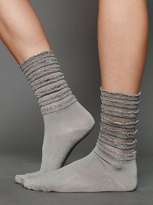 Ruffle Satin Ankle Sock