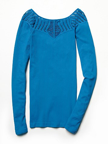 Cut Out Neck Long Sleeve Top