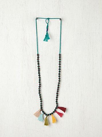 Prayer Bead Pompom Necklace