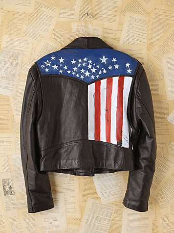 Vintage Carrie Yotter Hand-Painted Leather Jacket