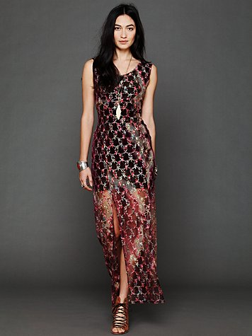 Tie Dye Lace Column Dress