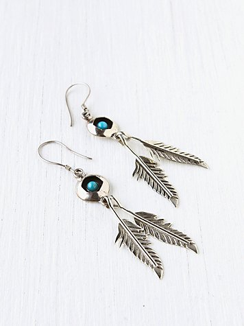 Stone And Feather Drop Earring