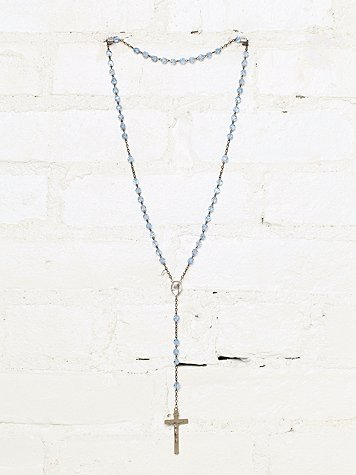 Vintage Blue Beaded Rosary Necklace