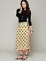 FP New Romantics Mirror Embroidered Column Skirt