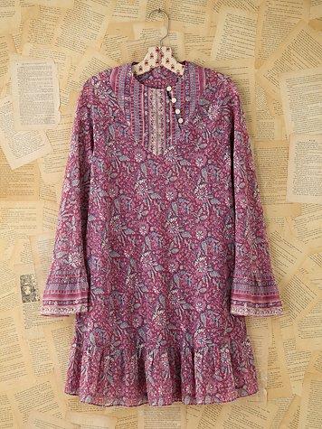 Vintage Purple Indian Print Dress