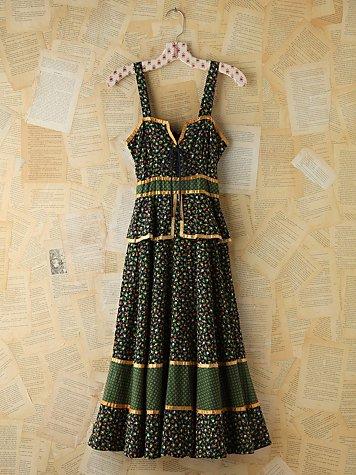 Vintage Floral Printed Gunne Sax Dress