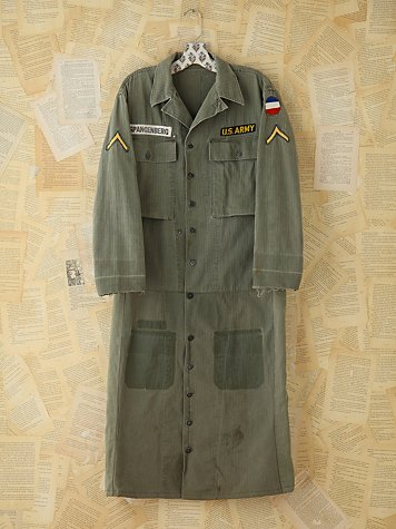 Vintage Patched Army Duster Jacket