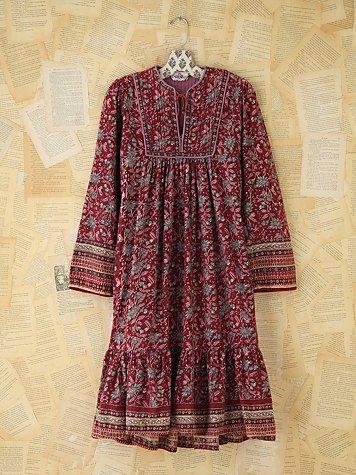 Vintage Printed Boho Dress