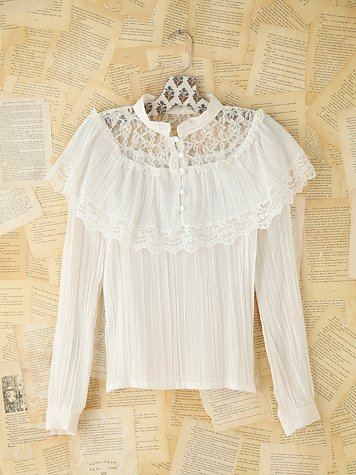 Vintage Lace Ruffled Blouse