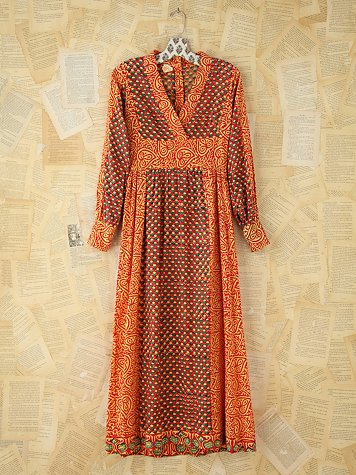 Vintage Printed Kaftan Dress
