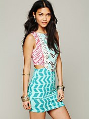 Luau Print Cutout Bodycon