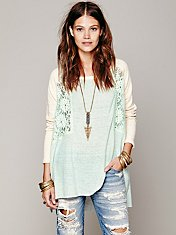 Colorblock Lace Inset Pullover