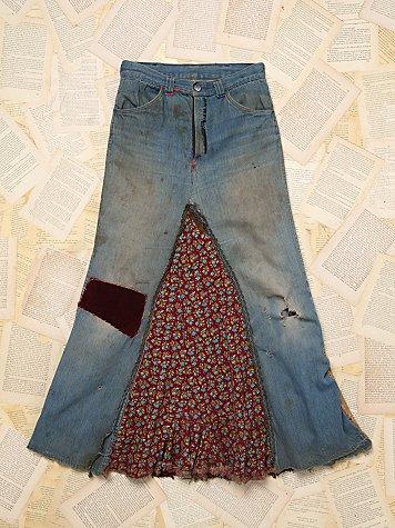 Patchwork Denim Maxi Skirt