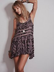 Printed Voile and Lace Slip