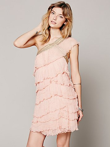 Maheya One Shoulder Ruffle Dress