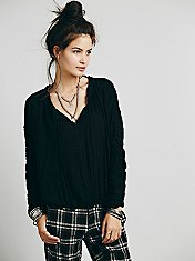 Rouched Sleeve Peasant Blouse