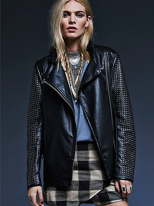Studded Vegan Leather Moto