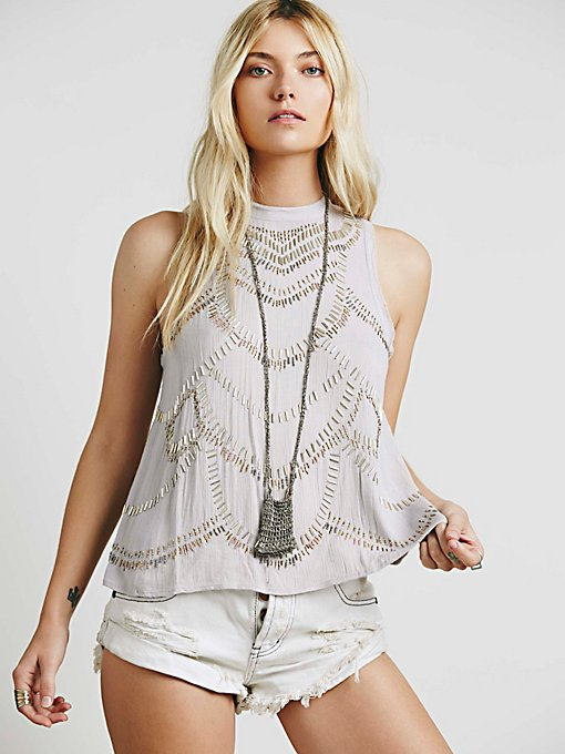 Mock Neck Embellished Tank