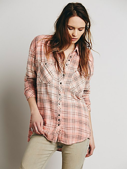 Dip Dye Plaid Buttondown