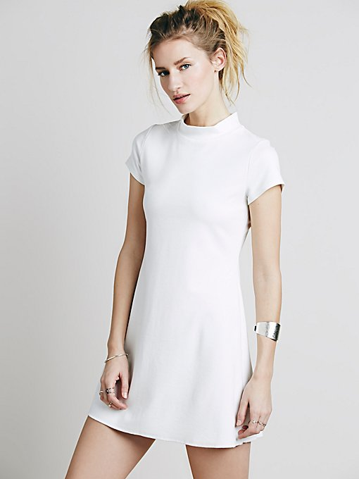 Solid Mock Neck Mini Dress