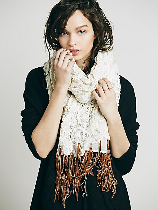 Crochet Leather Fringe Scarf