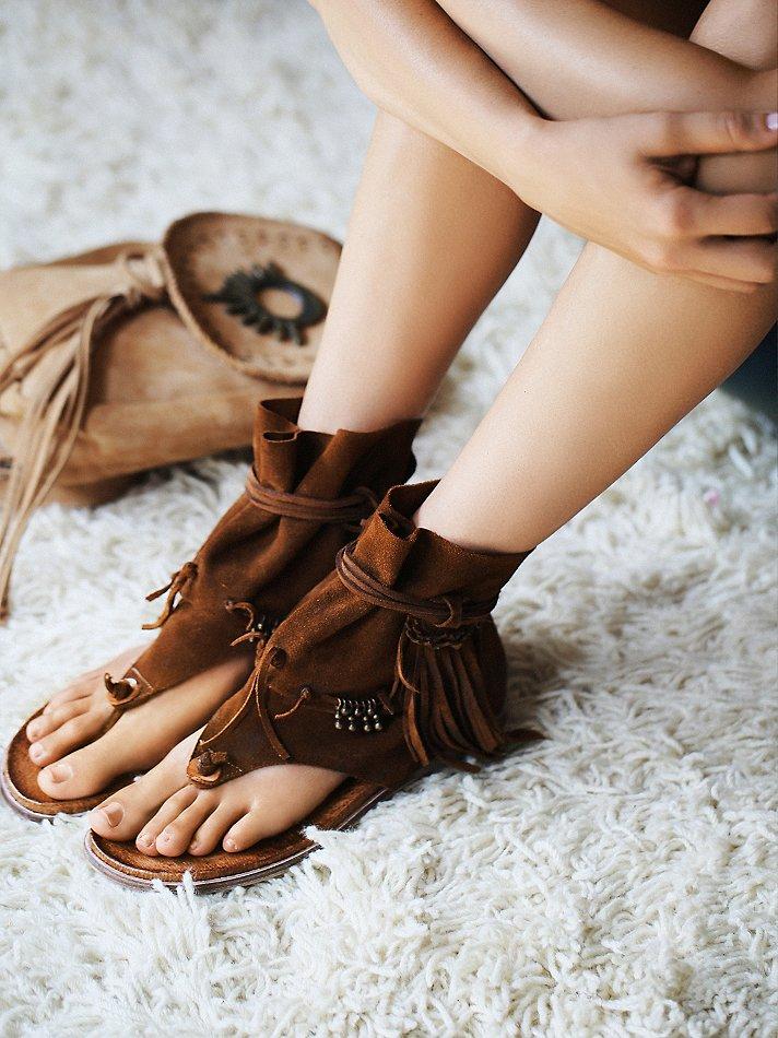 Suede boho sandals