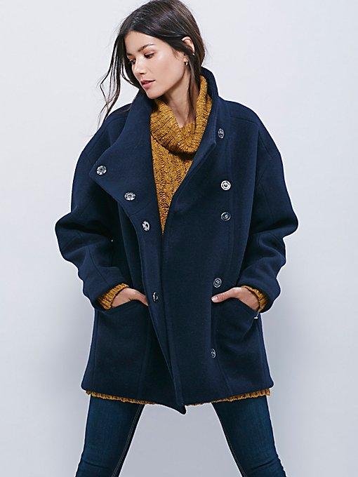 Boiled Wool Cocoon Coat