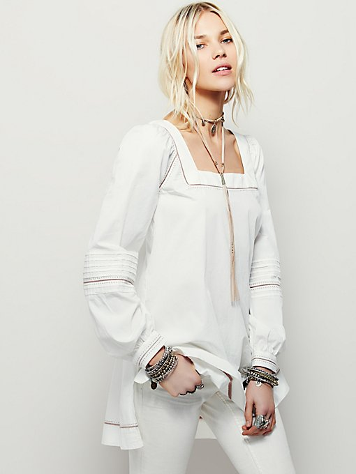 It's Your Thing Poplin Peasant Top